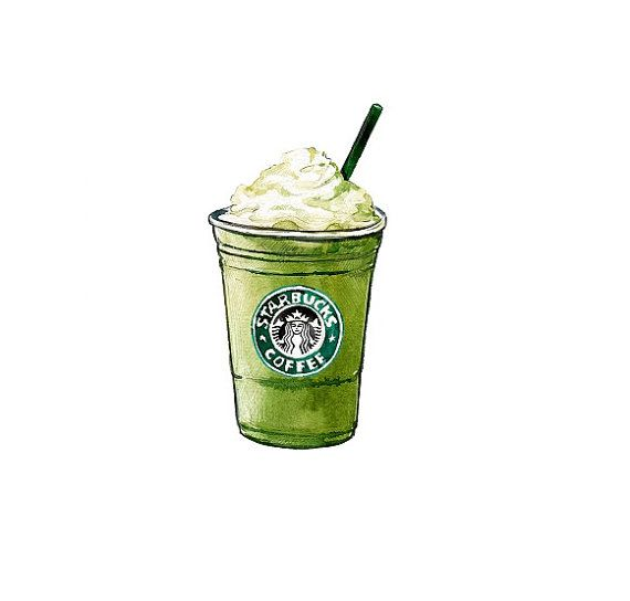 Starbucks Green Tea Frappuccino, coffee kitchen decor, Kitchen Art Print - Watercolor Illustration