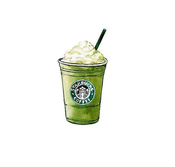 Starbucks Green Tea Frappuccino, coffee kitchen decor, Kitchen Art Print - Watercolor Illustration