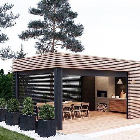 Bringen Sie den Sommer zum Leben mit Freunden und Familie. Lieben Sie diesen Platz im Freien! • Image Via Pinterest #schwarzundnatürlich #draußenleben #outdoorkitchen #dreamhom …