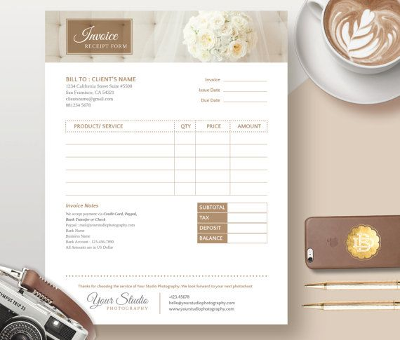 Invoice Template for Photographer Photography by BellenityDesign