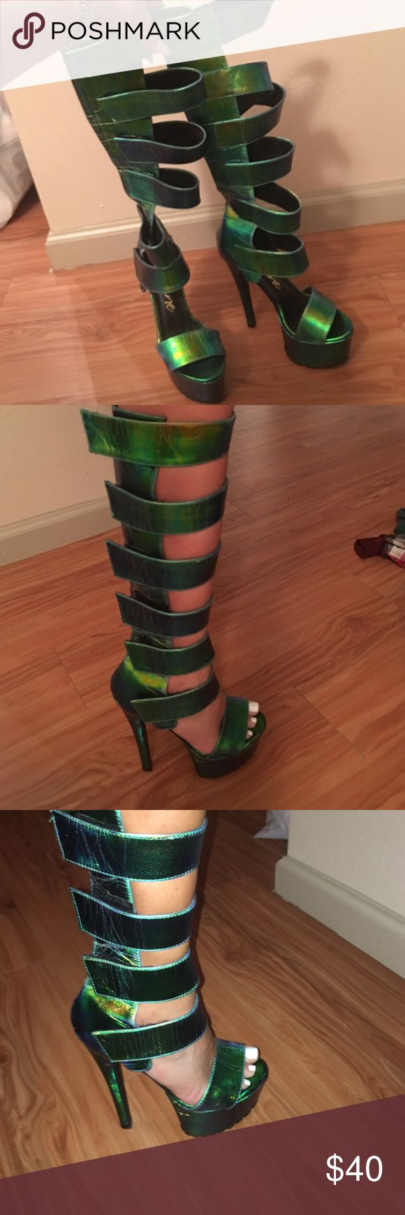 Gladiator hight heels Green metallic to the nee strapy shoes in perfect condition Nasty Gal Shoes Lace Up Boots