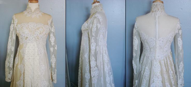 Vintage 1960s Long Sleeve Empire Waist Wedding Dress