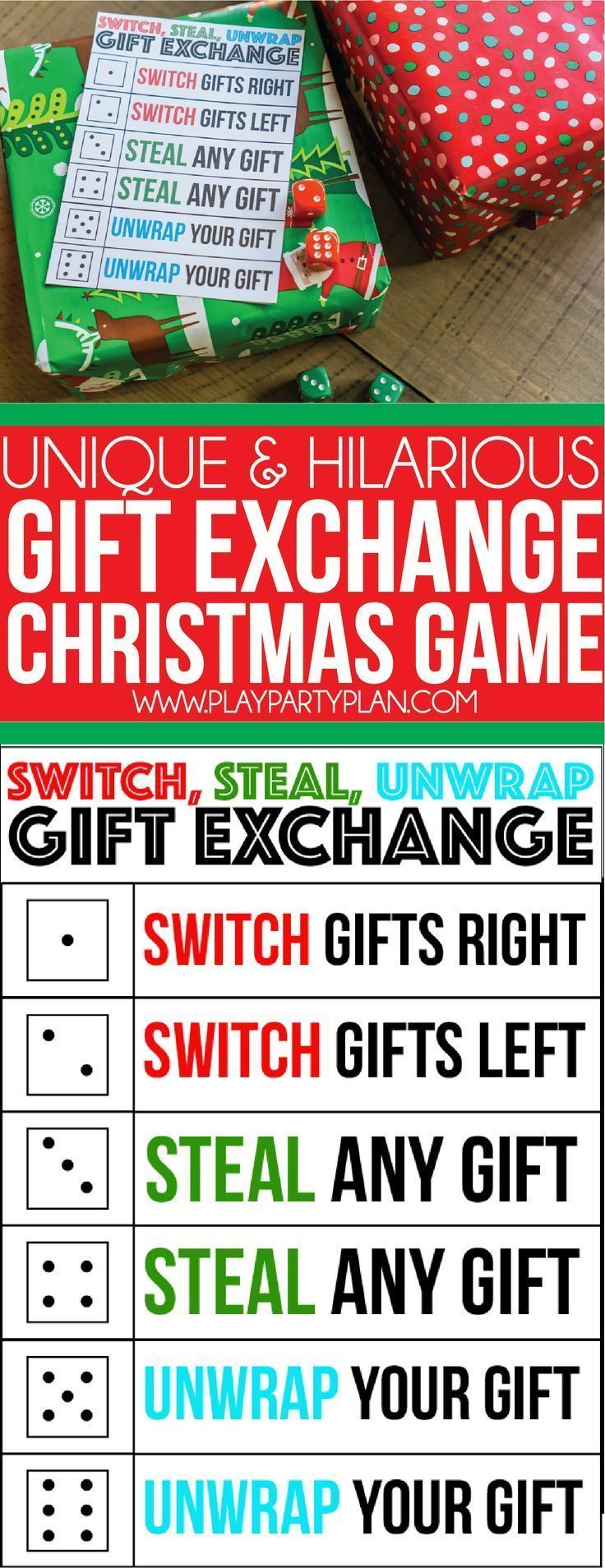A perfect gift exchange game for kids, for adults, and even for teens! Simply roll the dice and see where the gifts end up. Definitely one of our favorite Christmas party games ever and it�ll quickly become a family or office favorite for you too!