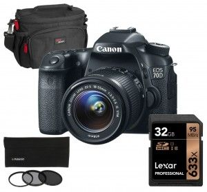 Canon EOS 70D DSLR With EF-S 18-55mm IS STM Lens And Photo Essentials Kit | @giftryapp