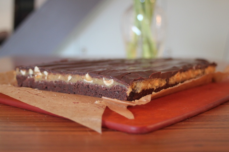 Chocolate-Hazelnut-Caramel Slice from a recipe by Rachel Allen.  Recipe can be found here: http://www.bbc.co.uk/food/recipes/chocolateandhazelnut_87185