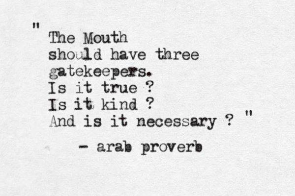 True, kind & necessary. Gatekeepers.