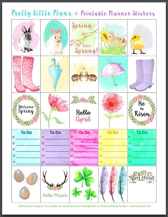 Printable watercolor spring and easter erin condren planner stickers by
