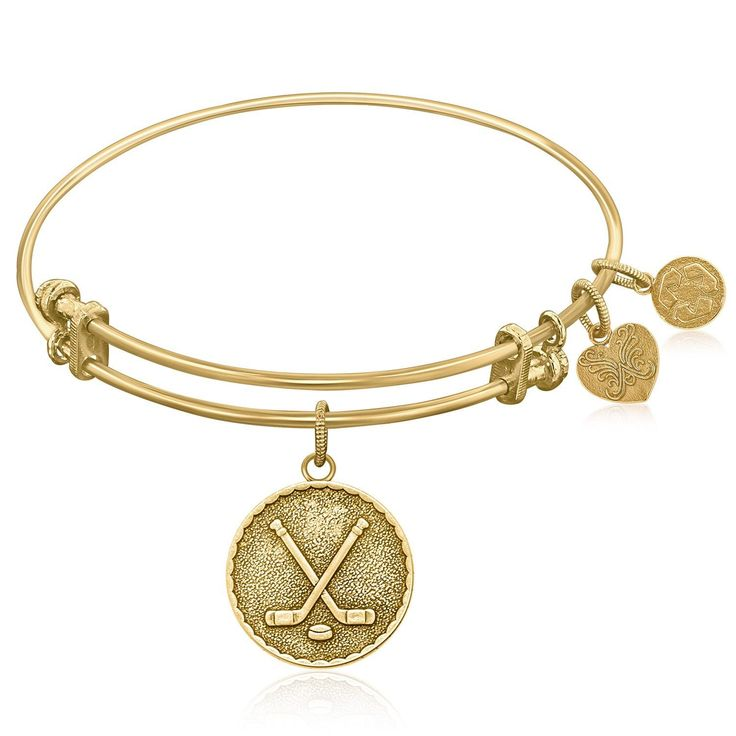 An expandable bangle in yellow tone brass. Field hockey, ice hockey, quad roller hockey, inline roller hockey, sledge hockey, and street hockey. There's a hockey game out there for all us. Grab a stic