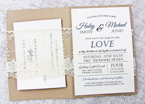 Rustic Lace Wedding Invitation Rustic Wedding par LoveofCreating