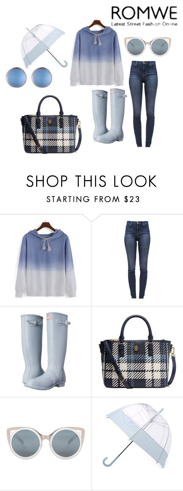 """Rain Rain Go Away"" by mariah8995 on Polyvore featuring J Brand, Hunter, Tory Burch, Erdem and Alexis Bittar"