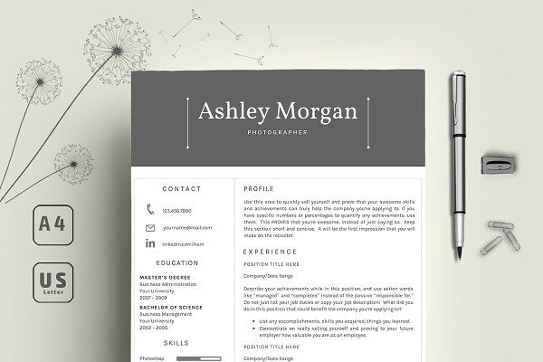 Need to update your Resume? Check out the pro collection of templates creative market has On offer! This elegant and professional resume will help you get noticed! The package includes a resume template, cover letter template & reference letter template in a pretty floral theme. This template is easy to change colours, layout and fonts to suit your needs.
