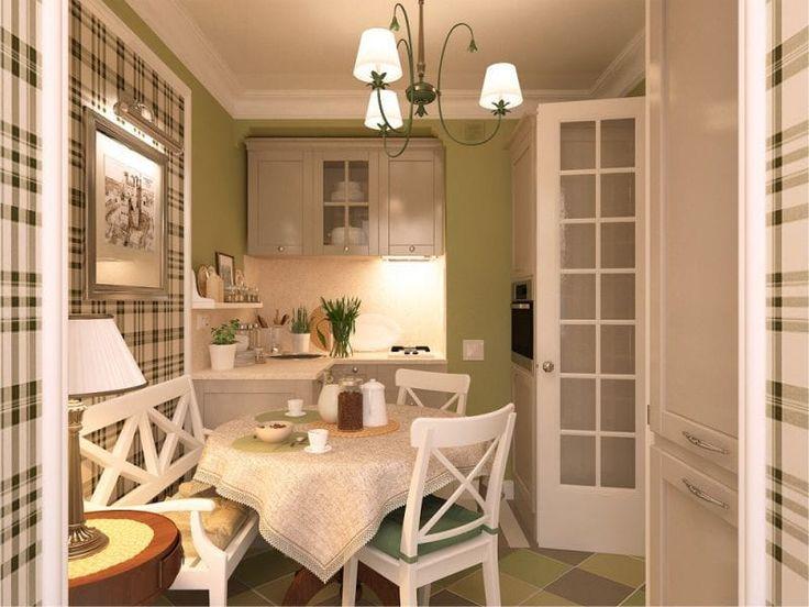 Бежевая кухня и зеленые стены