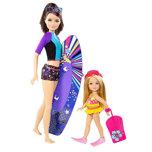 barbie sisters surfing skipper and chelsea doll 2 pack   mattel girls