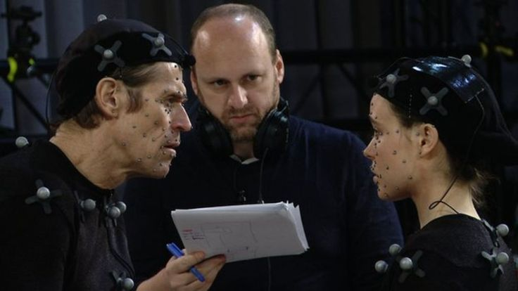 "David Cage with actors Ellen Page and Willem Dafoe on the set of Beyond: Two Souls.  Click for BBC News Article: ""David Cage's Top 10 Tips for being a game designer"""