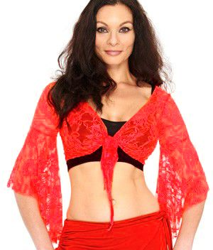Lace Bell Sleeve Choli Top - RED