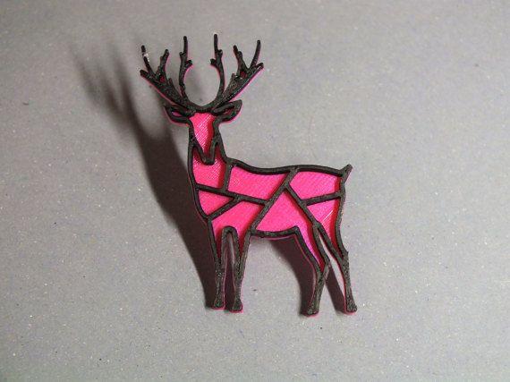 3D printed - Deer magenta/black