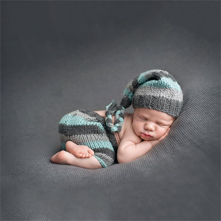 Handmade crochet striped hat and pants newborn infant photography props