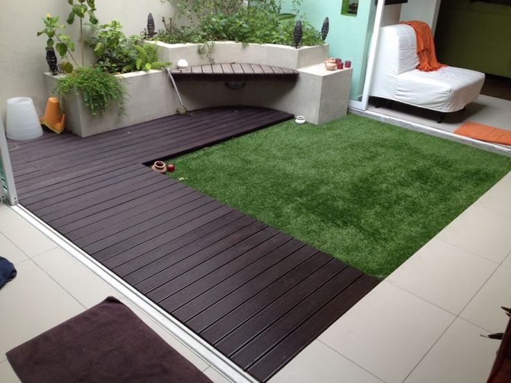 Another ideas for outdoor garden with acesturf artificial for Garden decking and grass
