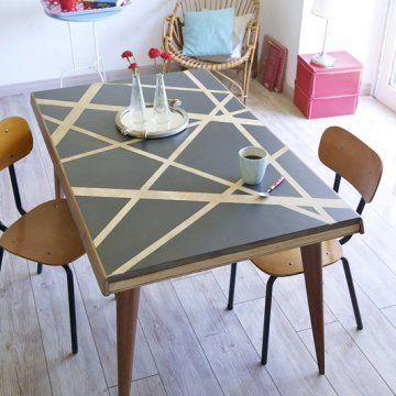 DIY Table vernie effet graphique avec rubans adhésif et matériel Bosch et V33