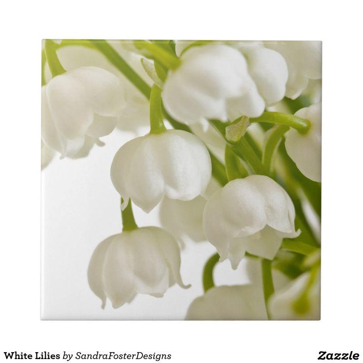 White Lilies Ceramic Tiles