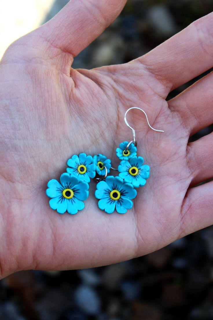 Polymer Clay Earrings, Forgetmenot Jewelry, Little Flowers Earrings, 925