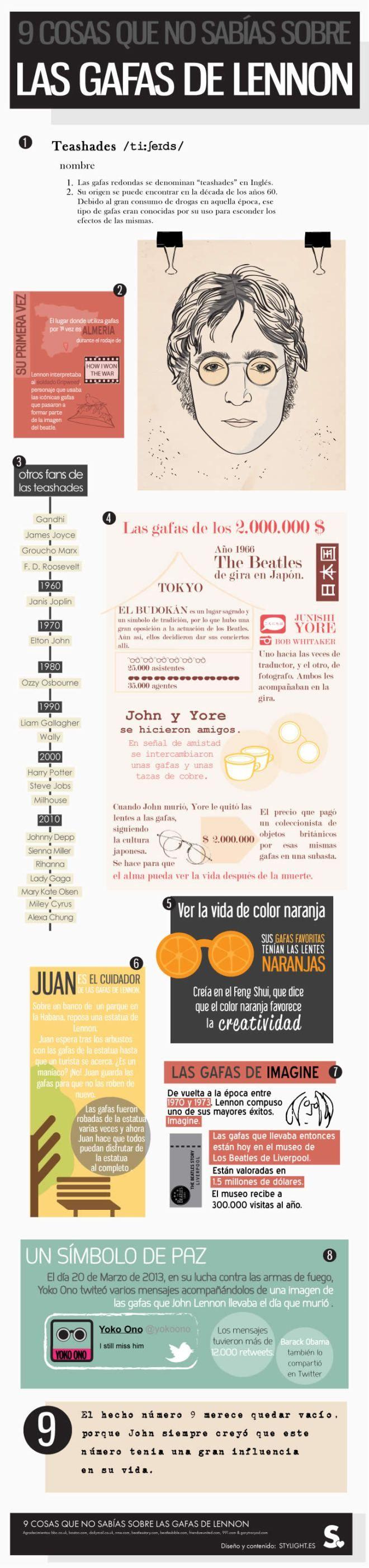 Infografía 9 cosas que no sabias sobre las gafas o lentes de sol de John Lennon