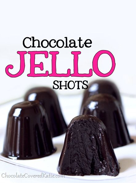 Chocolate Jello Shots - an easy recipe to make for a party, people always go crazy for them and they disappear quickly. http://chocolatecoveredkatie.com/2013/12/05/chocolate-jello-shots/