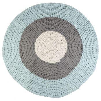 Gehäkelter Baumwoll-Teppich softaqua/grau rund Ø 120cm, 119 EUR