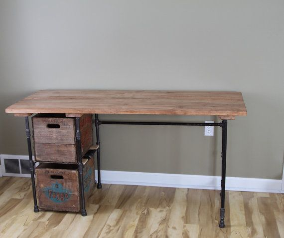 Industrial Desk With Drawers Reclaimed wood desk table - solid oak w ...