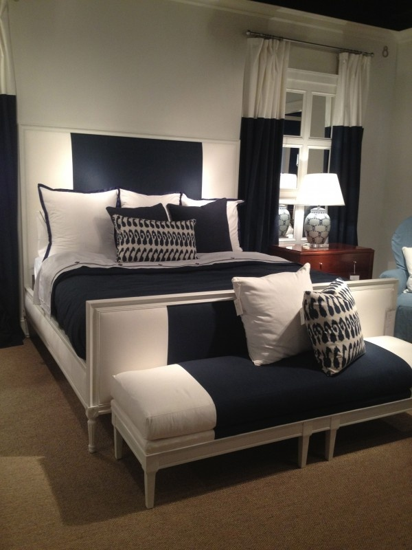 Stripes And Great Way To Lengthen Draperies Off White Bedroomsnavy