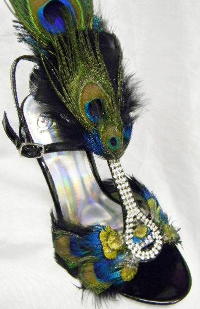 Peacock Feather Shoes Bridal Heels Ballroom Dance Crystal Heels 6-1/2M size