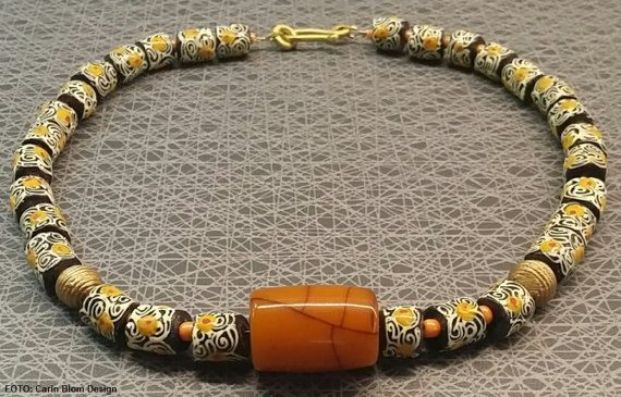 Man made amber African hand made krobo beads seed by CBlomsDesign