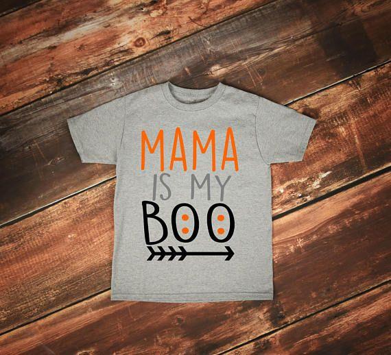 Mama is my Boo Tee Baby Boy Halloween Shirt Toddler
