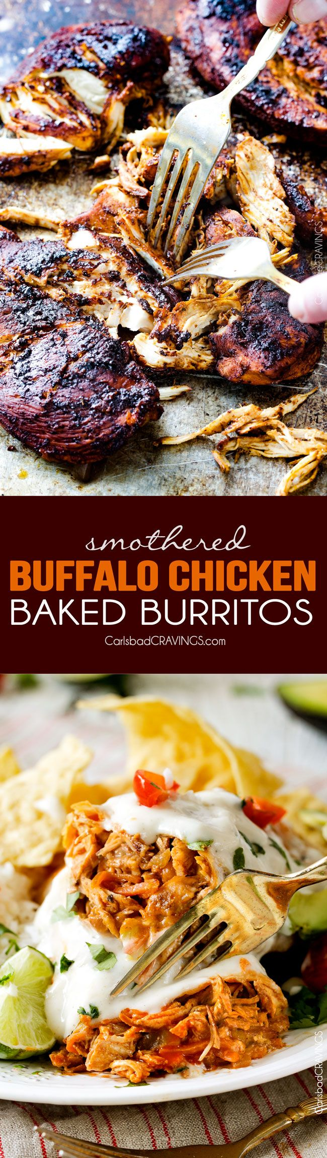 "Smothered Baked BUFFALO Chicken Burritos AKA ""skinny chimichangas"" are restaurant delicious without all the calories! stuffed with the BEST buffalo chicken and then baked to golden perfection and smothered in most incredible Creamy Lime Ranch Sauce! my family goes crazy over these!!"