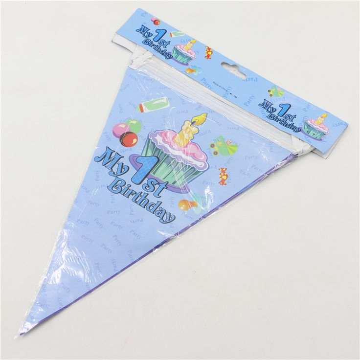 Set of 2.5 Meters Kids 1st birthday Theme  party decoration trigonometric flags kids birthday party supplies flags and banners