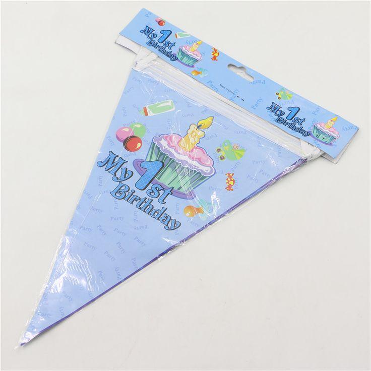 1 компл. баннеры в том числе 10 небольшие флаги мой 1-ый день рождения тема бумажные флажки 2.5 м ребенка день рождения украшение висит DIY 0325