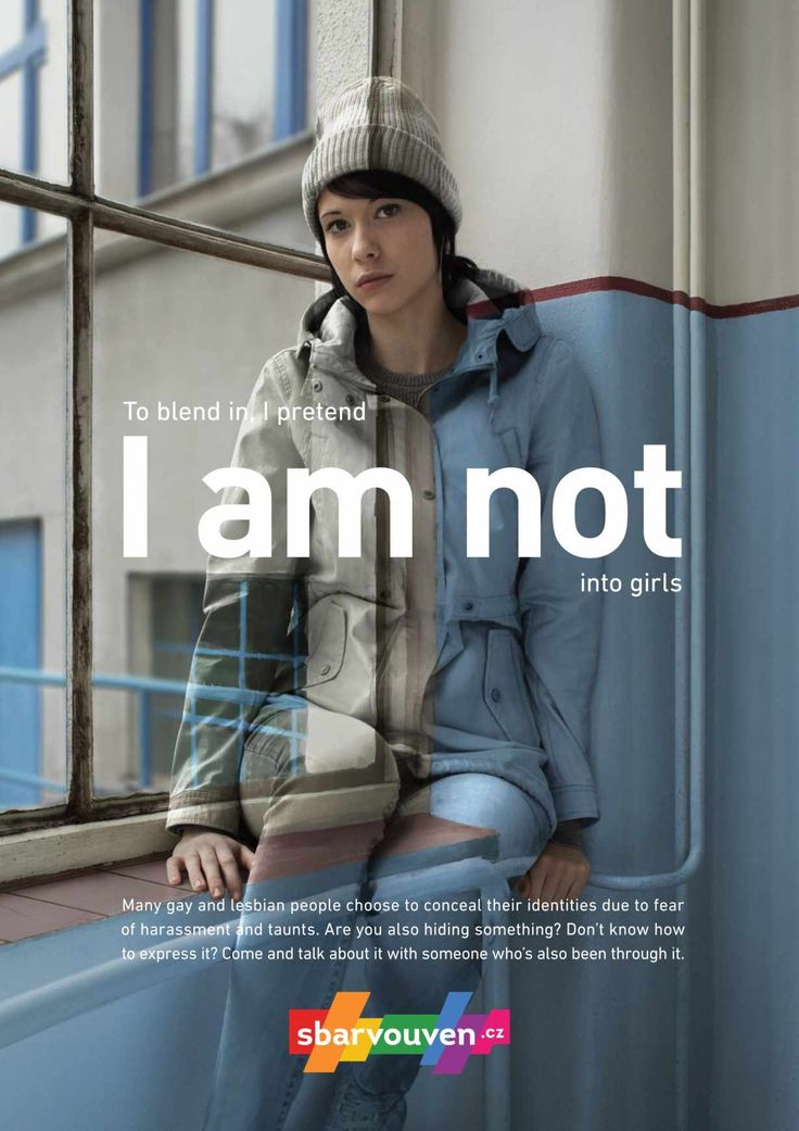 """These posters, for Czech LGBT support organization Sbarvouven, give a visual expression of how """"in the closet"""" lesbian and gay youth feel themselves."""