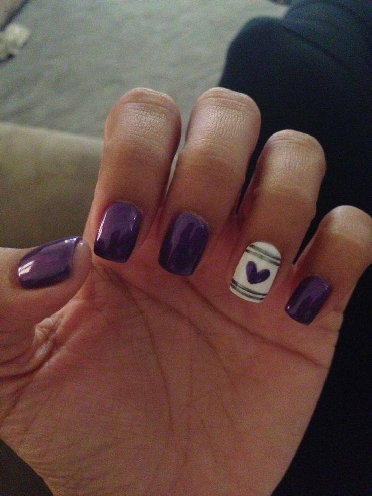purple fall nails with accent nail first time using shellac polish
