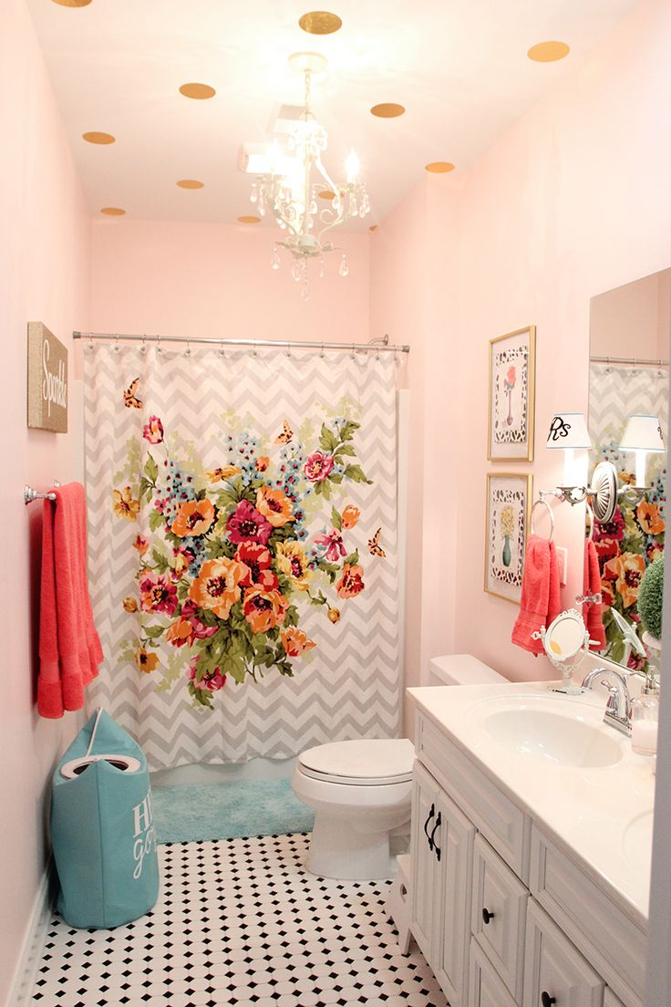 Girls' Bathroom Mini Makeover (in One Afternoon!) paint color: Sherwin  Williams Diminutive Pink I would just do a grey chevron for the shower  curtain.
