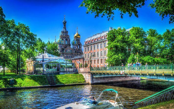 壁紙をダウンロードする ロシア, サンクトペテルブルク, 夏, 橋, hdr