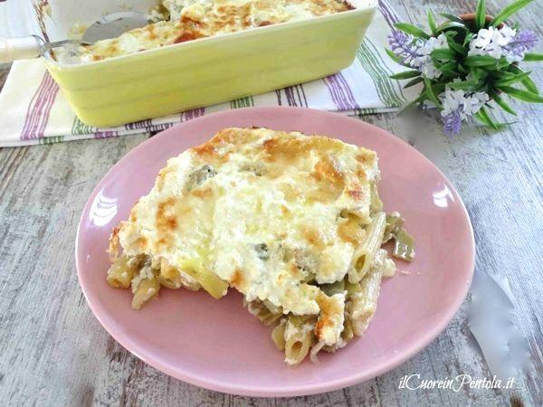 Pasta con carciofi e ricotta al forno http://www.ilcuoreinpentola.it/ricette/pasta-con-carciofi-e-ricotta-al-forno/