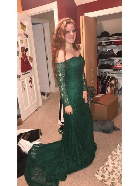 90ca4842c4b Trumpet Mermaid Long Sleeves Off-the-Shoulder Lace Sweep Brush Train Dresses