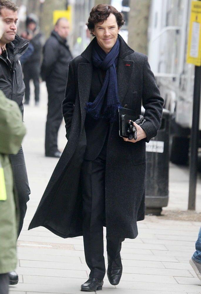 #Sherlock #Holmes #Benedict #Cumberbatch Wool #Winter #Coat Black/Grey Color