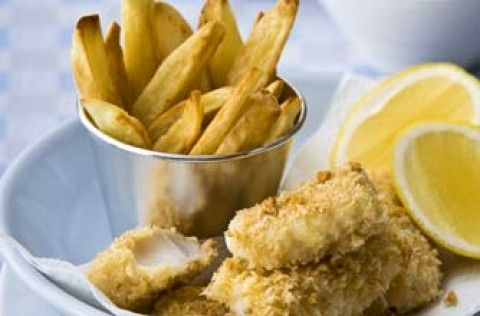 Home-baked fish fingers and chips | Woman