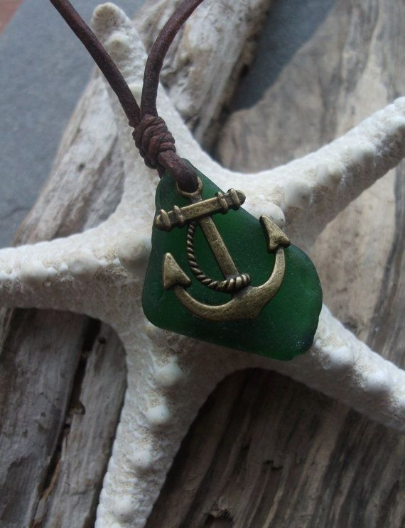 Sea glass jewelry, Green Sea Glass and Antique Bronze Anchor Necklace -Scottish Seaglass-Surfers Necklace-Beachwear. via Etsy