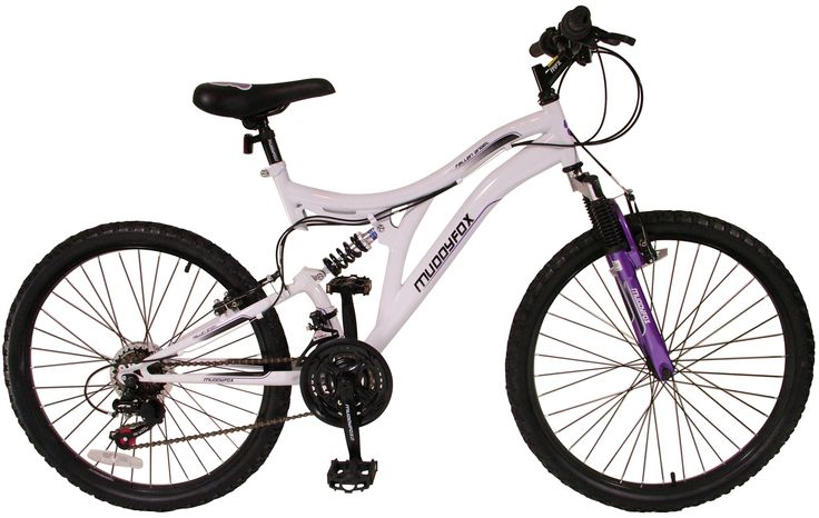 24 inch Girls Mountain Bike White and Purple