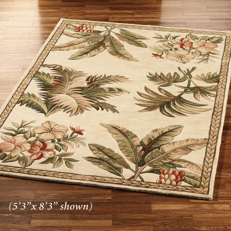 tropical area rugs 5x7 3x5 clearance retreat rug ivory
