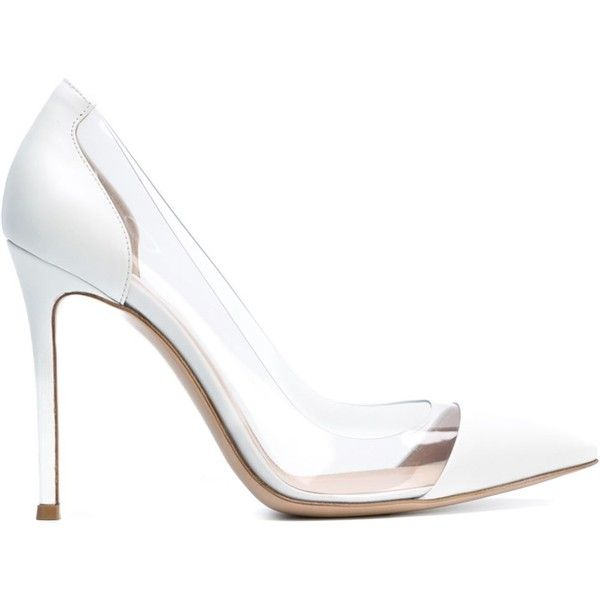 Gianvito Rossi Plexi Pumps (2.345 BRL) ❤ liked on Polyvore featuring shoes, pumps, heels, high heels, chaussures, white, high heels stilettos, white heel pumps, white shoes and high heel pumps