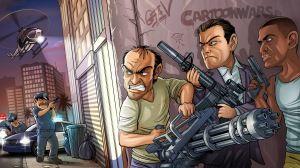 Preview wallpaper bandits, weapons, michael, trevor phillips, franklin, grand theft auto v, rockstar north, rockstar games, gta 5 1920x1080