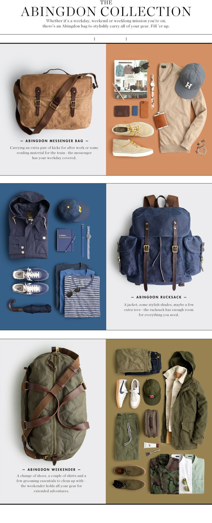 The messenger, the rucksack and the weekend bag. All essential items to a man who travels. Abingdon has a beautiful answer to them all. Found on J Crew